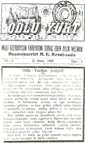 """Məhəmməd Əmin Rəsulzadənin Türkiyədə nəşr etdirdiyi """"Odlu Yurd"""" dərgisi"""