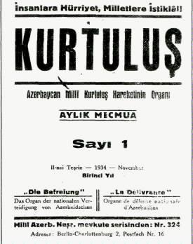Rəsulzadənin Türkiyədə çıxardığı Kurtuluş dərgisi